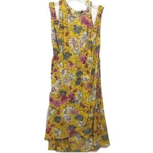 Umgee Size L Yellow Dress Cold Shoulder Floral NEW